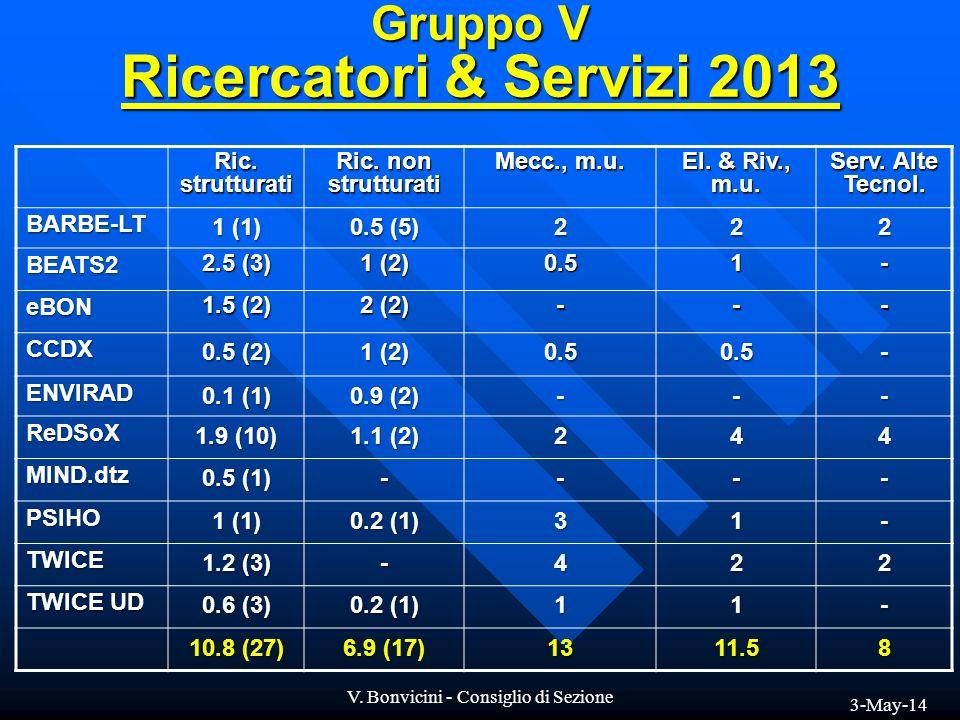 Gruppo V Ricercatori & Servizi 2013