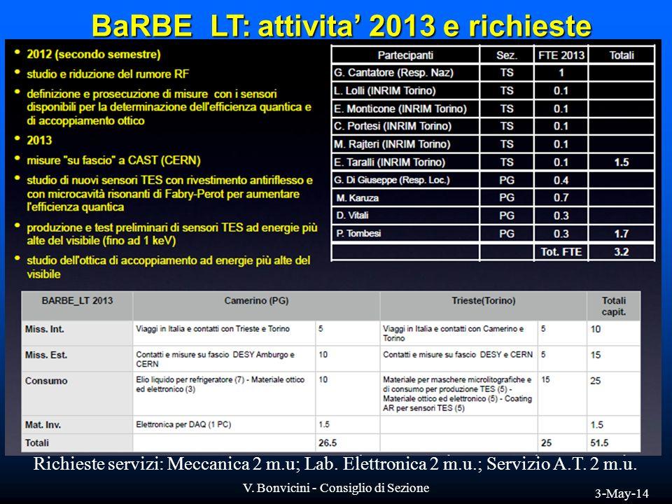 BaRBE_LT: attivita' 2013 e richieste