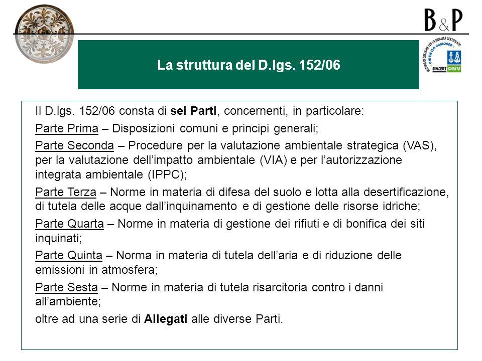 La struttura del D.lgs. 152/06 Il D.lgs. 152/06 consta di sei Parti, concernenti, in particolare: