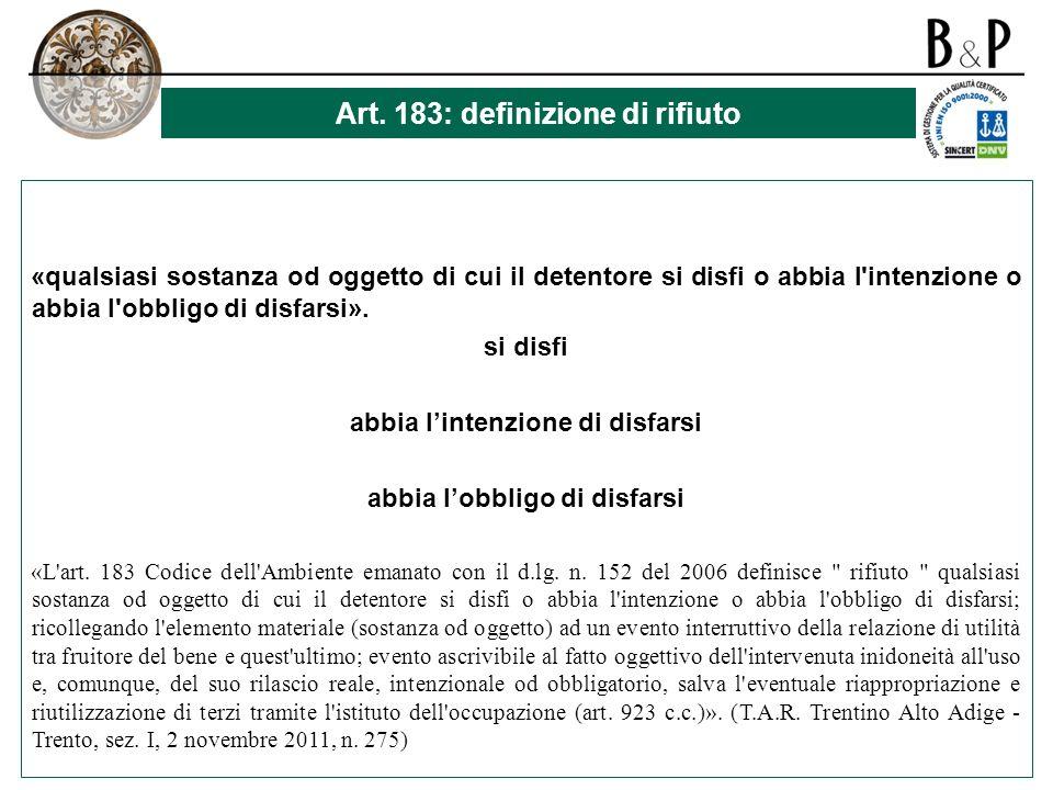 Art. 183: definizione di rifiuto