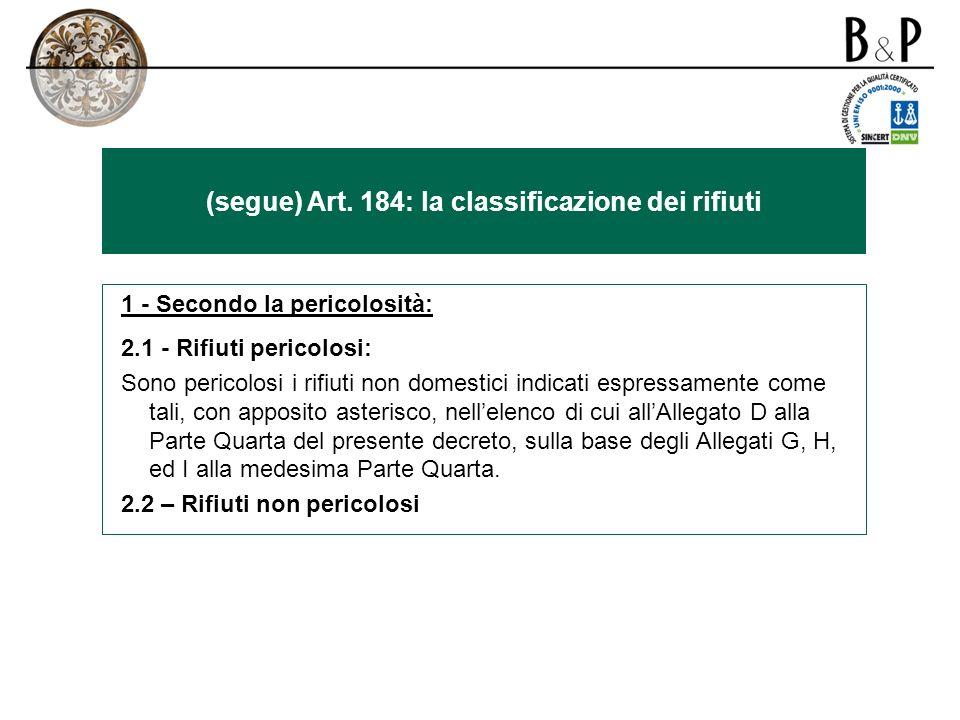 (segue) Art. 184: la classificazione dei rifiuti