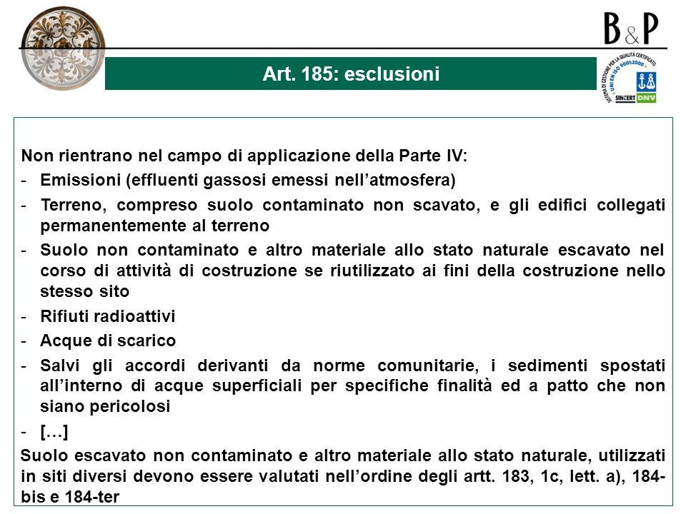 Art. 185: esclusioni Non rientrano nel campo di applicazione della Parte IV: Emissioni (effluenti gassosi emessi nell'atmosfera)