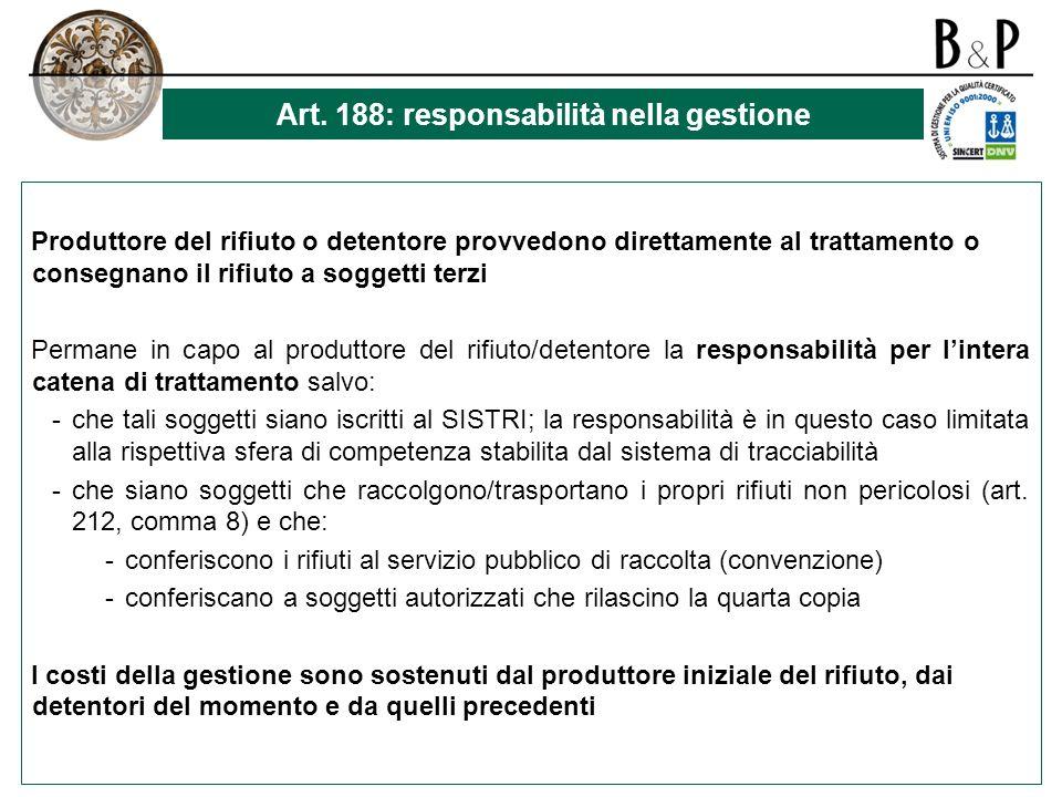 Art. 188: responsabilità nella gestione
