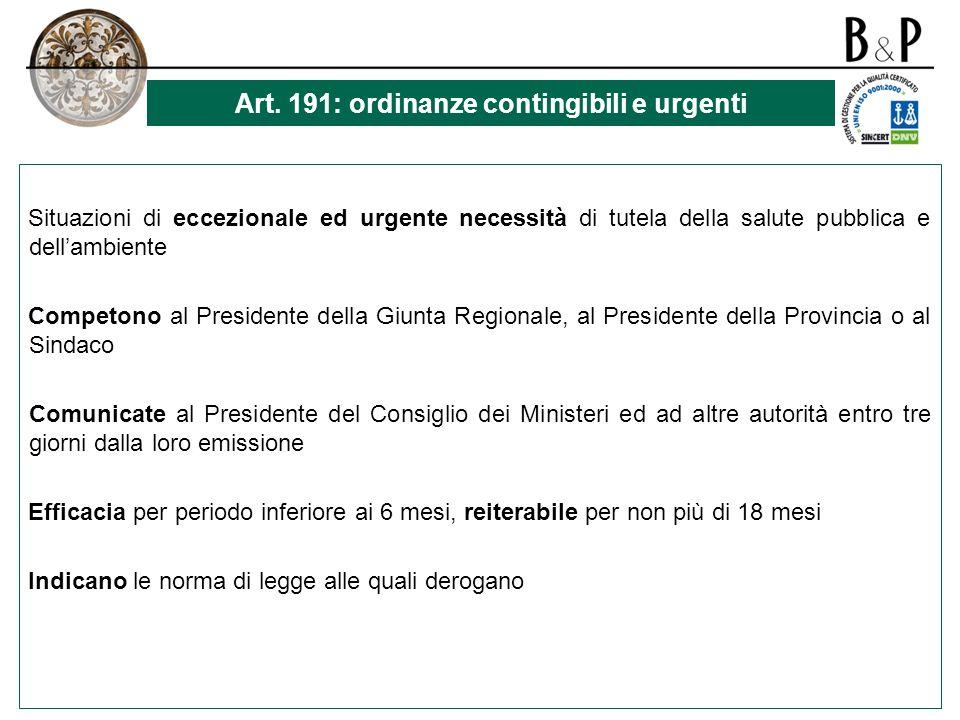Art. 191: ordinanze contingibili e urgenti
