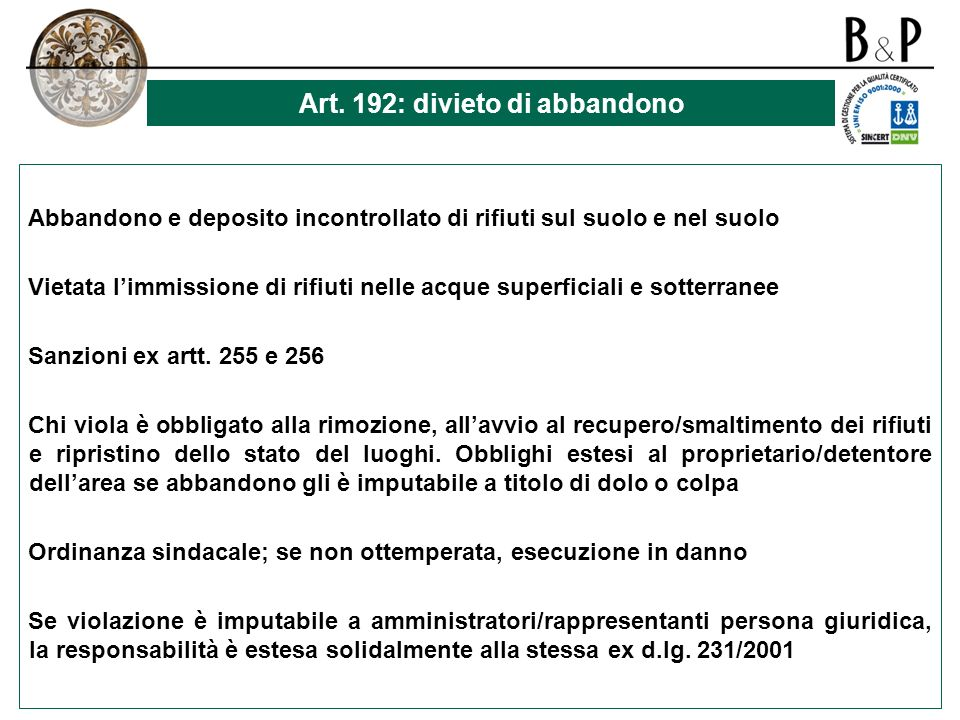 Art. 192: divieto di abbandono