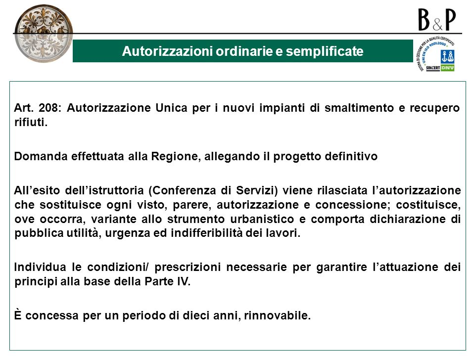 Autorizzazioni ordinarie e semplificate