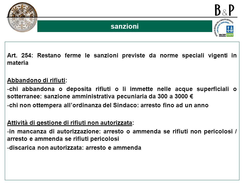 sanzioni Art. 254: Restano ferme le sanzioni previste da norme speciali vigenti in materia. Abbandono di rifiuti: