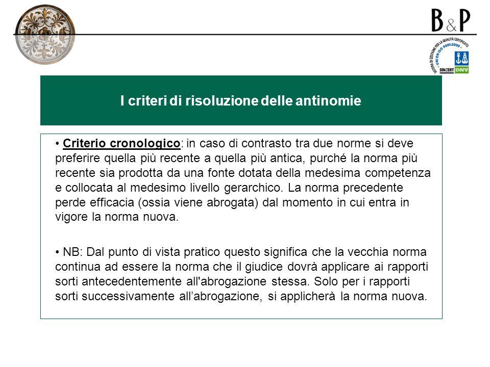 I criteri di risoluzione delle antinomie
