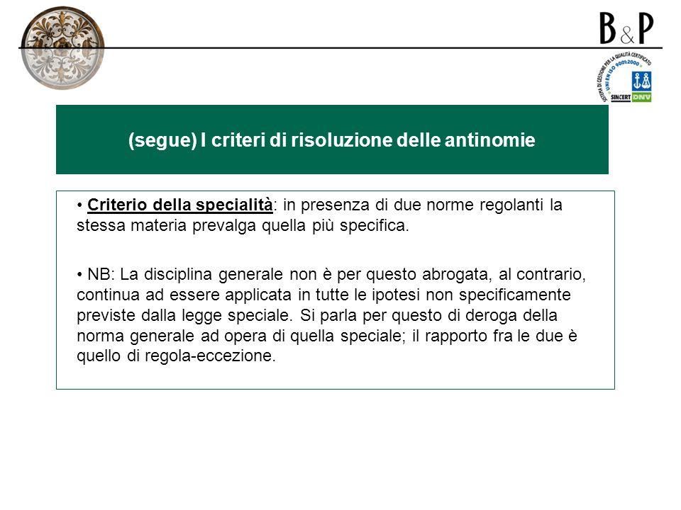 (segue) I criteri di risoluzione delle antinomie