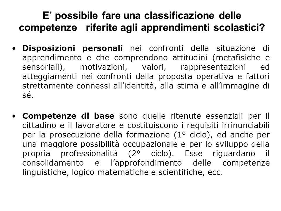 E' possibile fare una classificazione delle competenze riferite agli apprendimenti scolastici