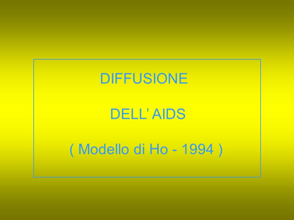 DIFFUSIONE DELL' AIDS ( Modello di Ho - 1994 )