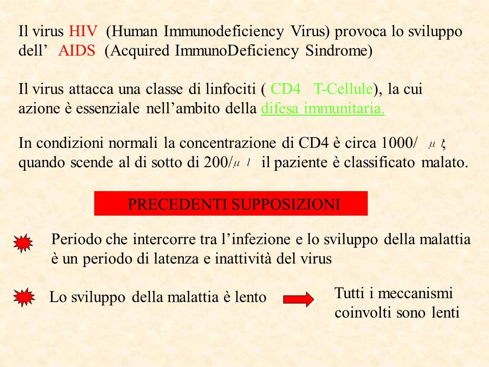 Il virus HIV (Human Immunodeficiency Virus) provoca lo sviluppo