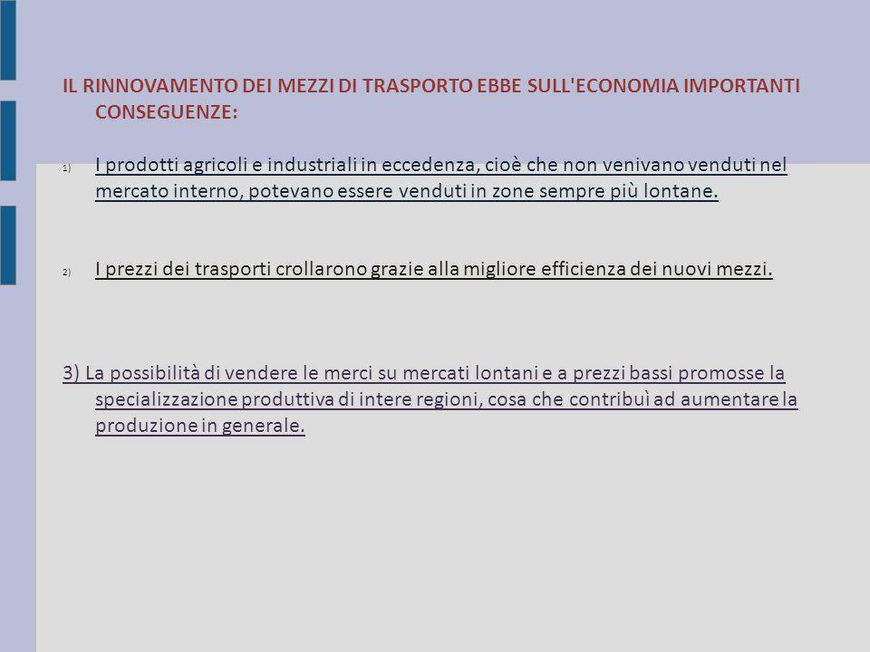 IL RINNOVAMENTO DEI MEZZI DI TRASPORTO EBBE SULL ECONOMIA IMPORTANTI CONSEGUENZE: