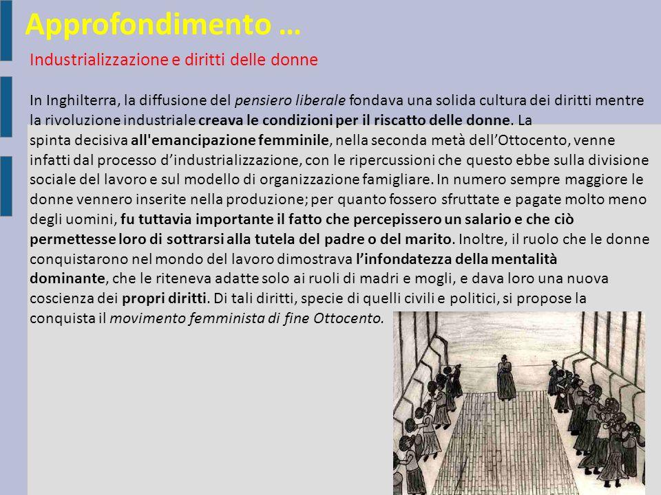 Approfondimento … Industrializzazione e diritti delle donne