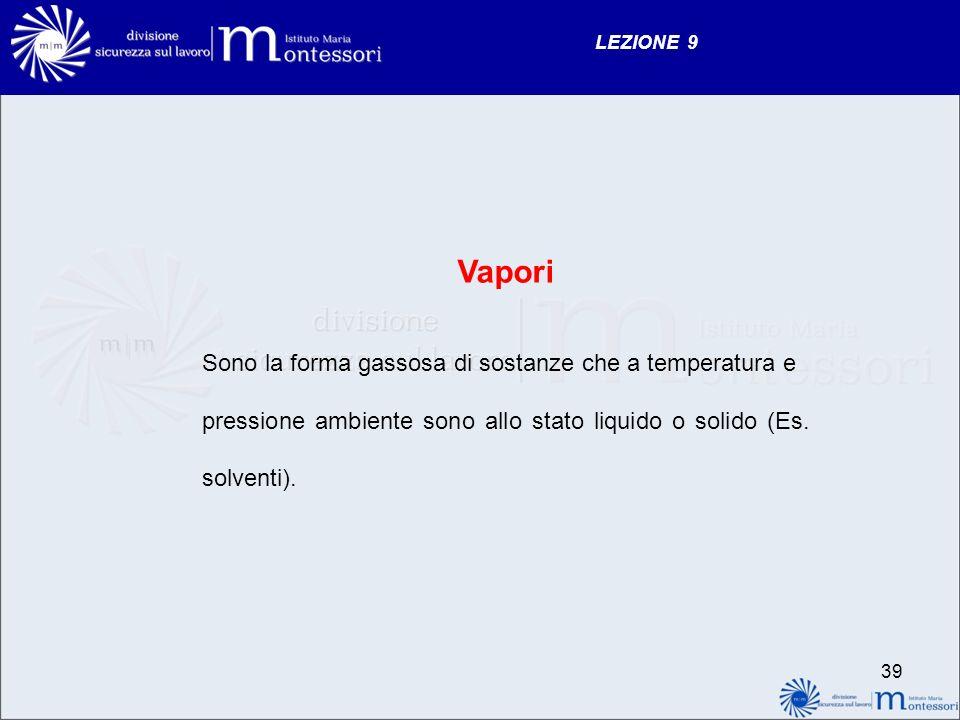 Vapori Sono la forma gassosa di sostanze che a temperatura e