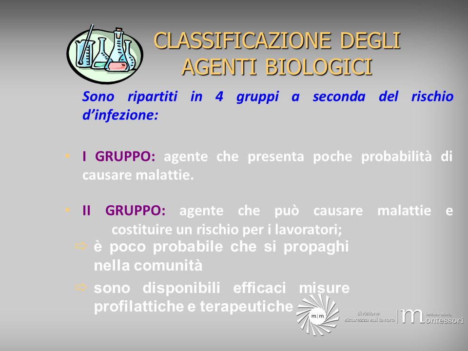 CLASSIFICAZIONE DEGLI AGENTI BIOLOGICI