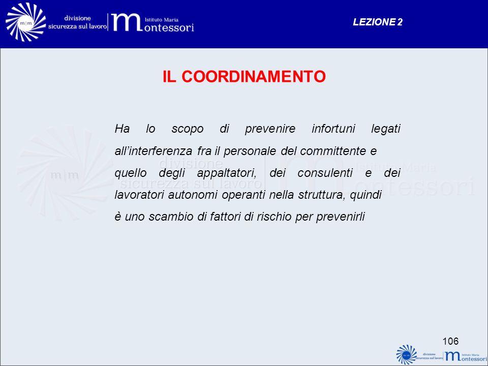 LEZIONE 2 IL COORDINAMENTO. Ha lo scopo di prevenire infortuni legati all'interferenza fra il personale del committente e.