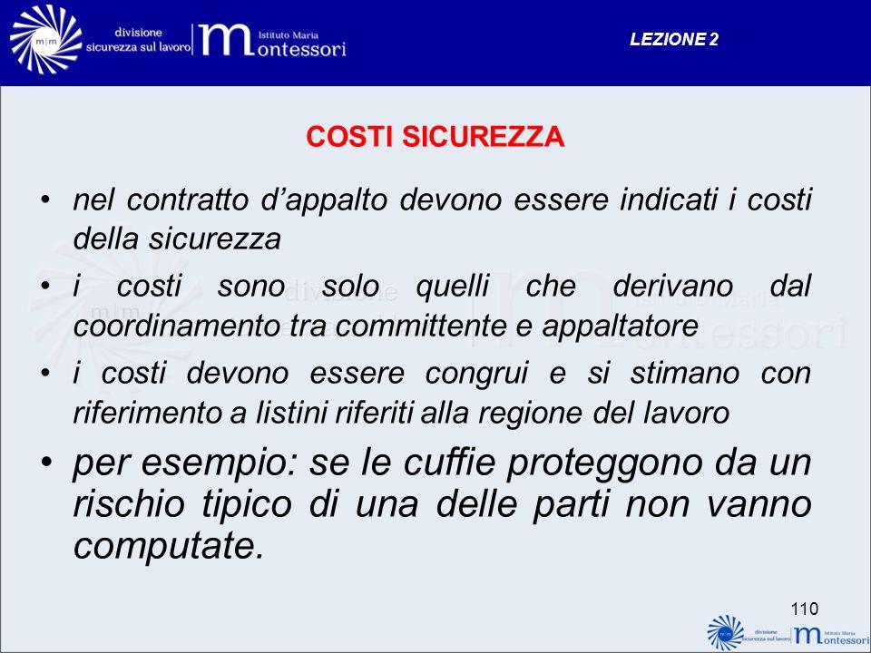 LEZIONE 2 COSTI SICUREZZA. nel contratto d'appalto devono essere indicati i costi della sicurezza.