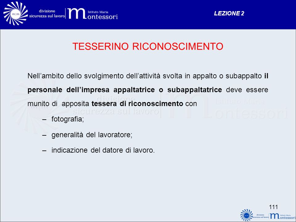 TESSERINO RICONOSCIMENTO