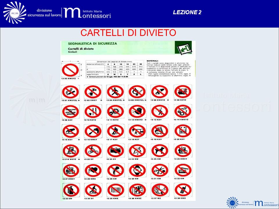 LEZIONE 2 CARTELLI DI DIVIETO 128