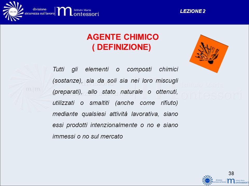 AGENTE CHIMICO ( DEFINIZIONE)