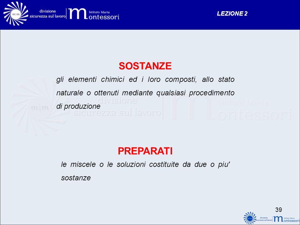 LEZIONE 2 SOSTANZE. gli elementi chimici ed i loro composti, allo stato naturale o ottenuti mediante qualsiasi procedimento di produzione.