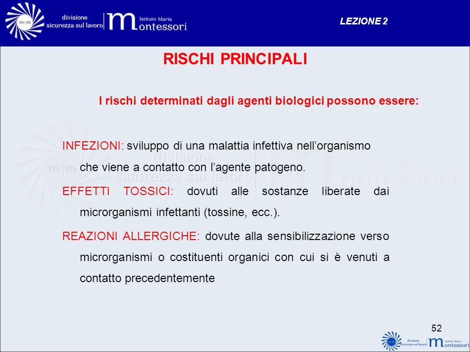 LEZIONE 2 RISCHI PRINCIPALI. I rischi determinati dagli agenti biologici possono essere:
