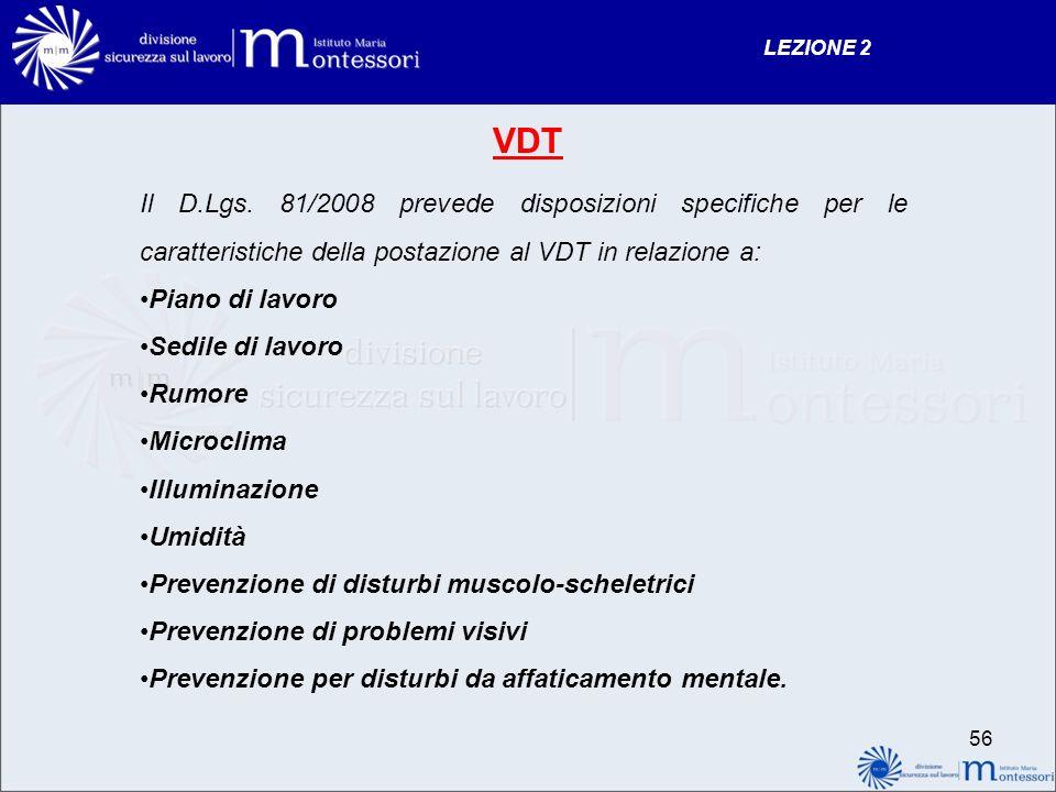 LEZIONE 2 VDT. Il D.Lgs. 81/2008 prevede disposizioni specifiche per le caratteristiche della postazione al VDT in relazione a: