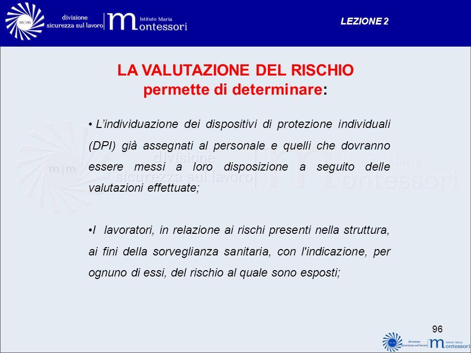 LA VALUTAZIONE DEL RISCHIO permette di determinare: