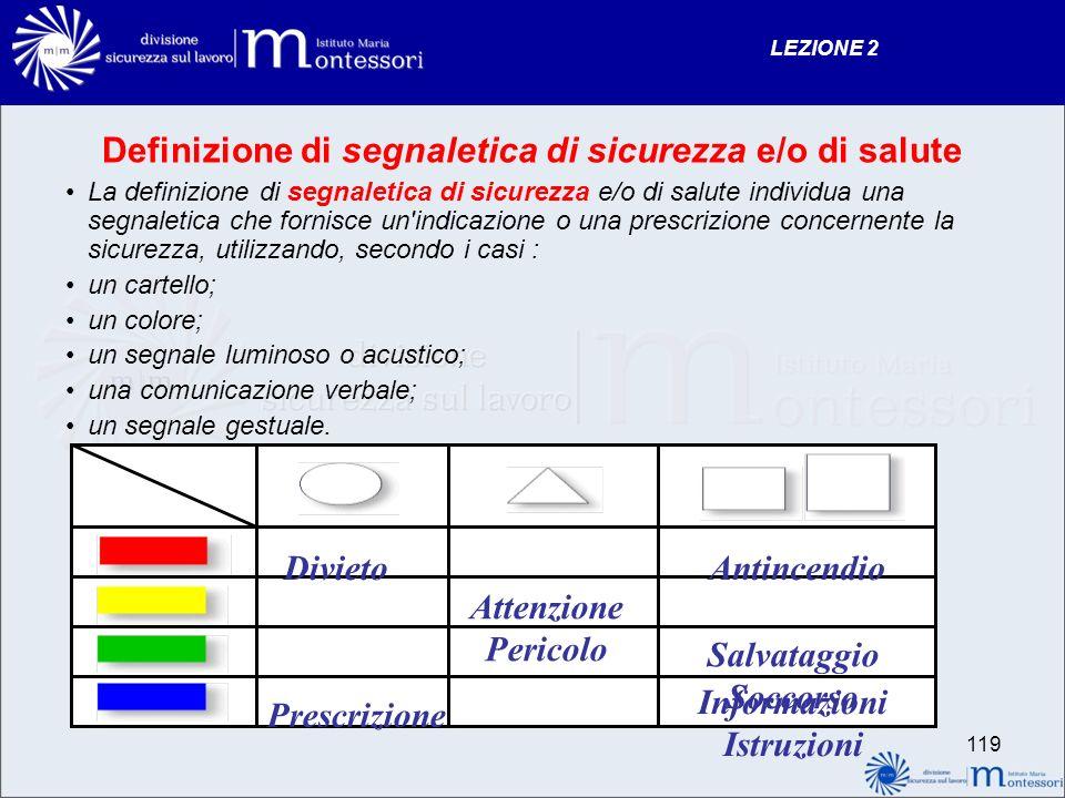 Definizione di segnaletica di sicurezza e/o di salute