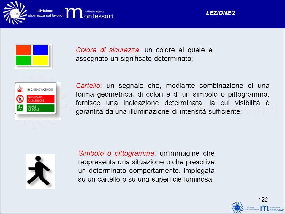LEZIONE 2 Colore di sicurezza: un colore al quale è assegnato un significato determinato;