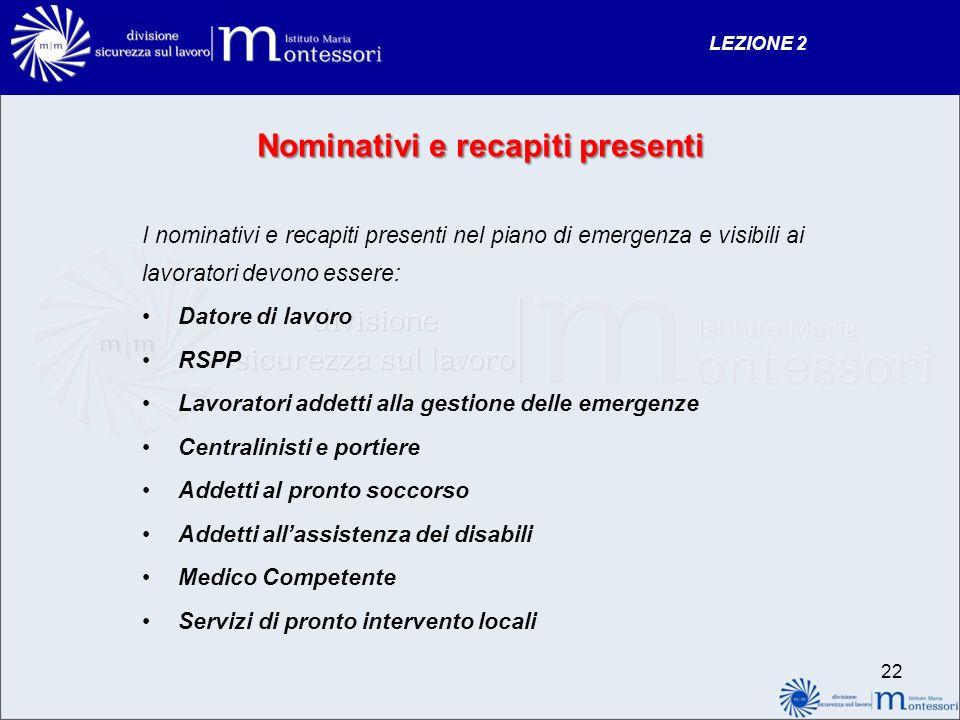 Nominativi e recapiti presenti