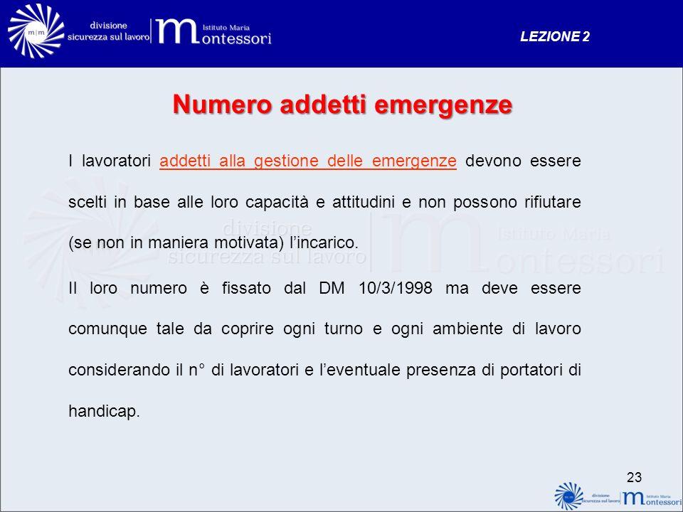 Numero addetti emergenze