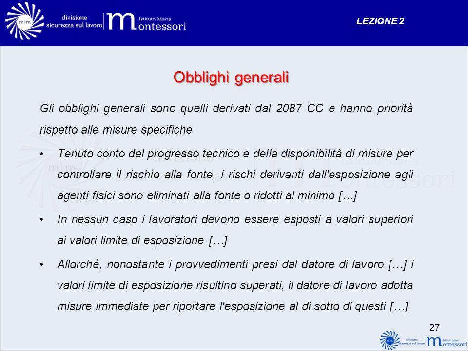 LEZIONE 2 Obblighi generali. Gli obblighi generali sono quelli derivati dal 2087 CC e hanno priorità rispetto alle misure specifiche.