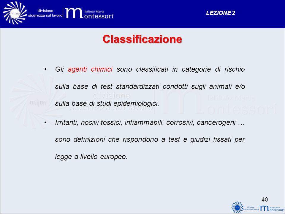 LEZIONE 2 Classificazione.