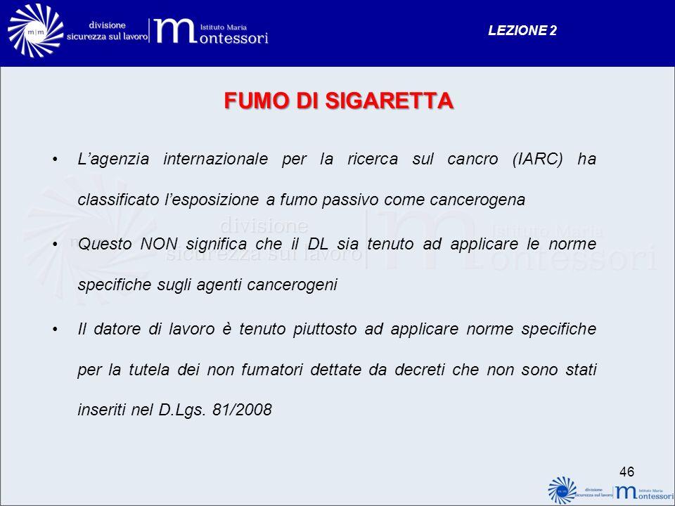LEZIONE 2 FUMO DI SIGARETTA. L'agenzia internazionale per la ricerca sul cancro (IARC) ha classificato l'esposizione a fumo passivo come cancerogena.
