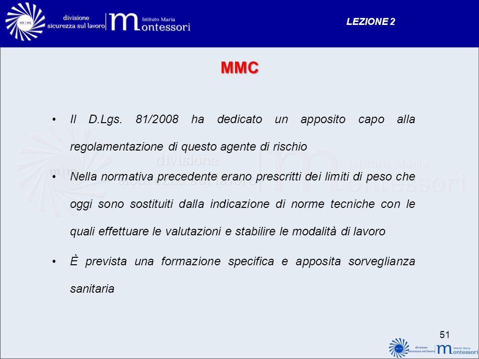 LEZIONE 2 MMC. Il D.Lgs. 81/2008 ha dedicato un apposito capo alla regolamentazione di questo agente di rischio.
