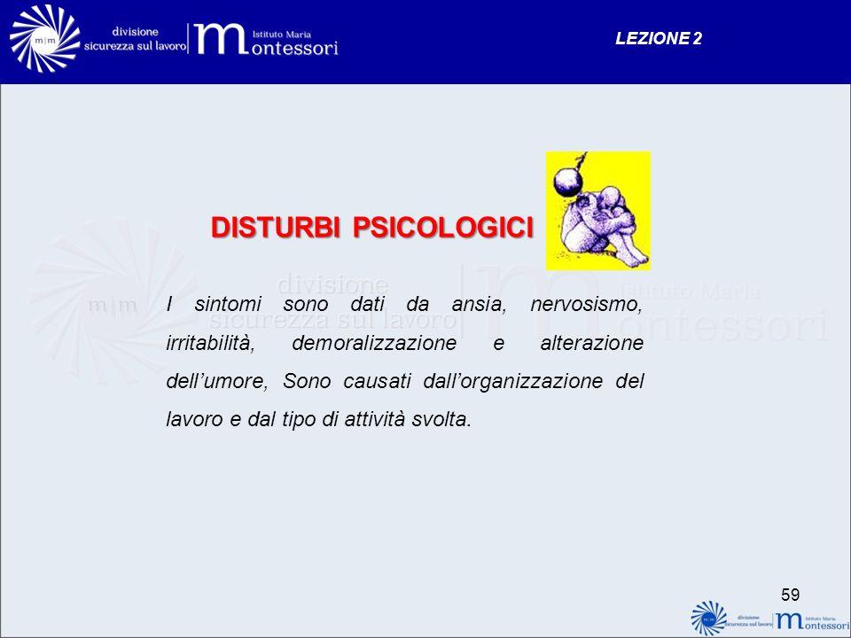 LEZIONE 2 DISTURBI PSICOLOGICI.