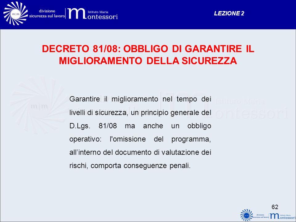 DECRETO 81/08: OBBLIGO DI GARANTIRE IL MIGLIORAMENTO DELLA SICUREZZA