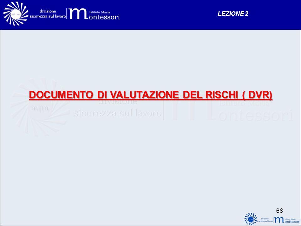 DOCUMENTO DI VALUTAZIONE DEL RISCHI ( DVR)