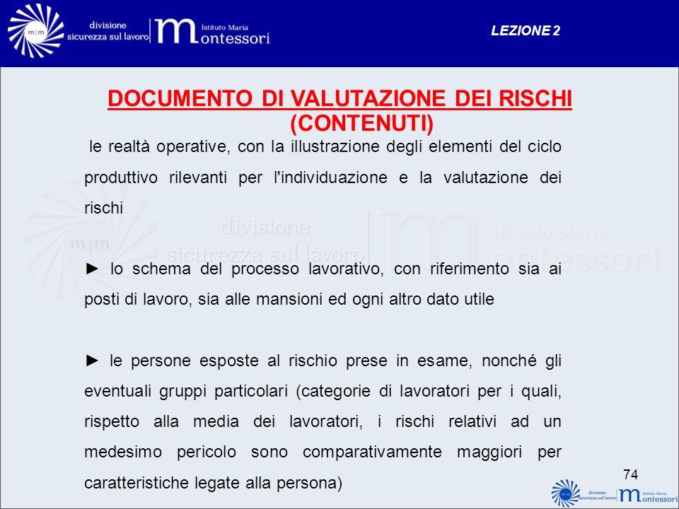 DOCUMENTO DI VALUTAZIONE DEI RISCHI (CONTENUTI)