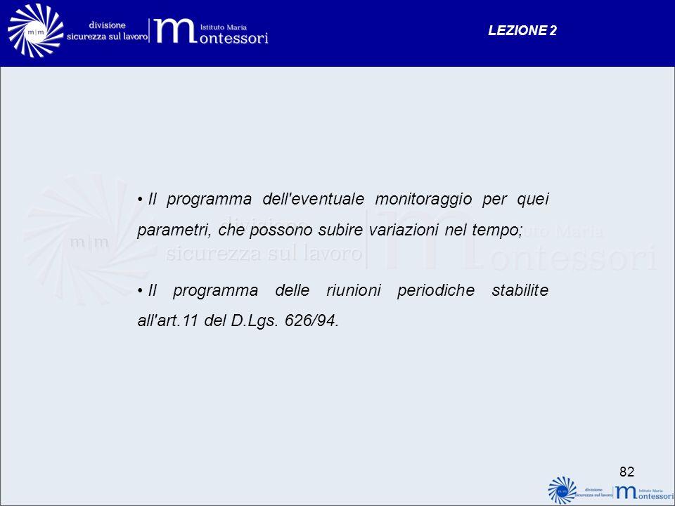 LEZIONE 2 Il programma dell eventuale monitoraggio per quei parametri, che possono subire variazioni nel tempo;