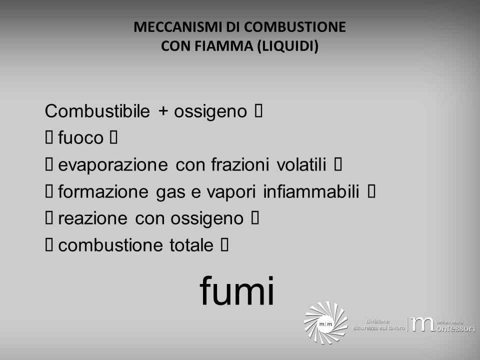 MECCANISMI DI COMBUSTIONE CON FIAMMA (LIQUIDI)