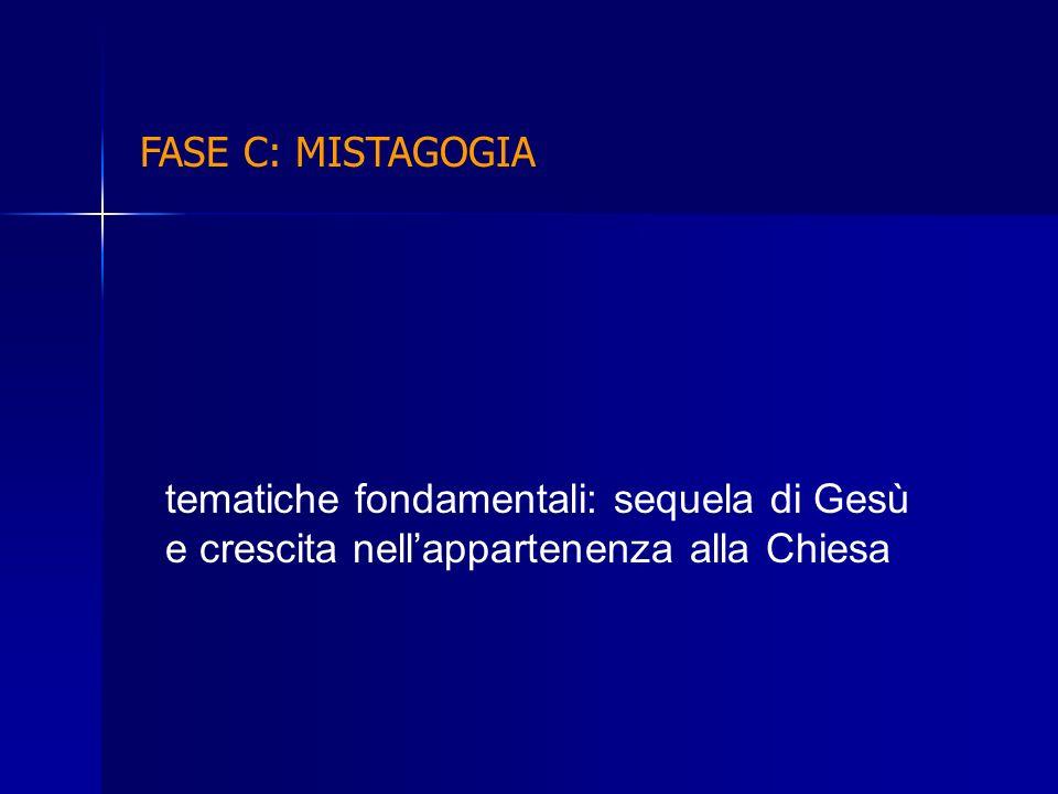 FASE C: MISTAGOGIA tematiche fondamentali: sequela di Gesù e crescita nell'appartenenza alla Chiesa.
