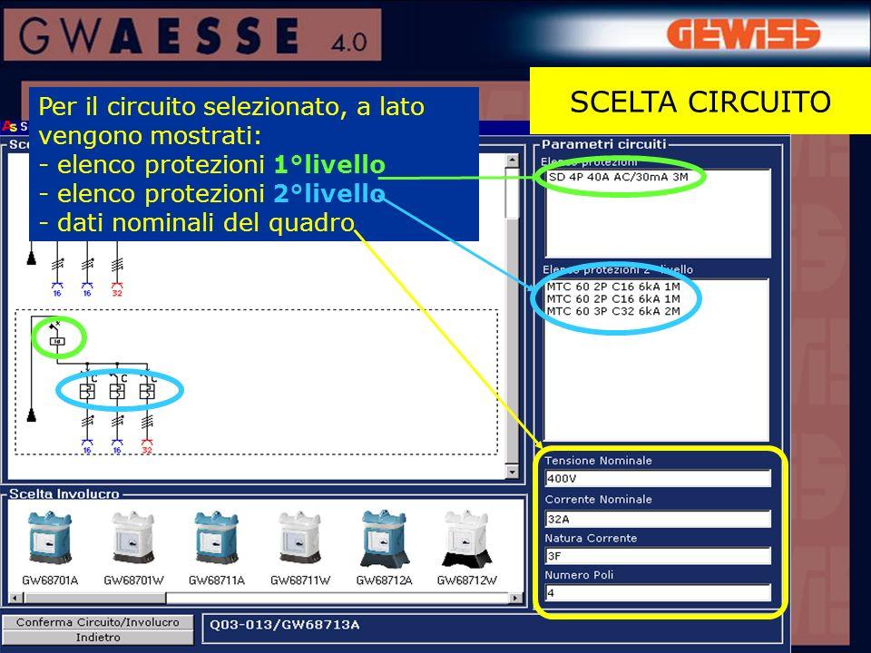 SCELTA CIRCUITO Per il circuito selezionato, a lato vengono mostrati: