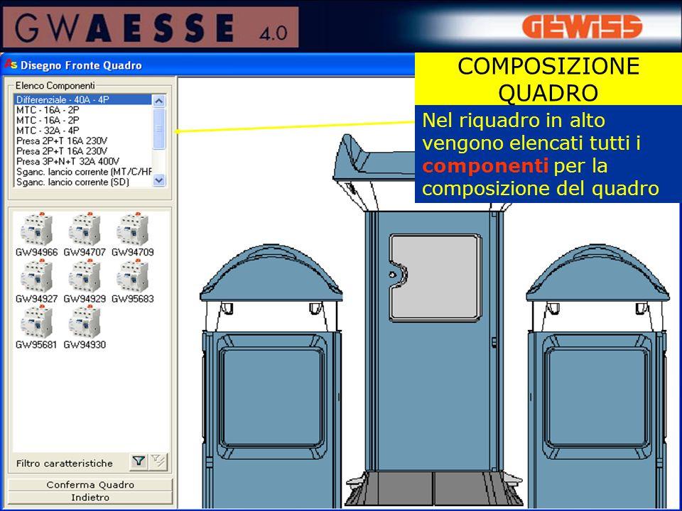 COMPOSIZIONE QUADRO Nel riquadro in alto vengono elencati tutti i componenti per la composizione del quadro.