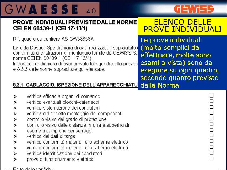 ELENCO DELLE PROVE INDIVIDUALI