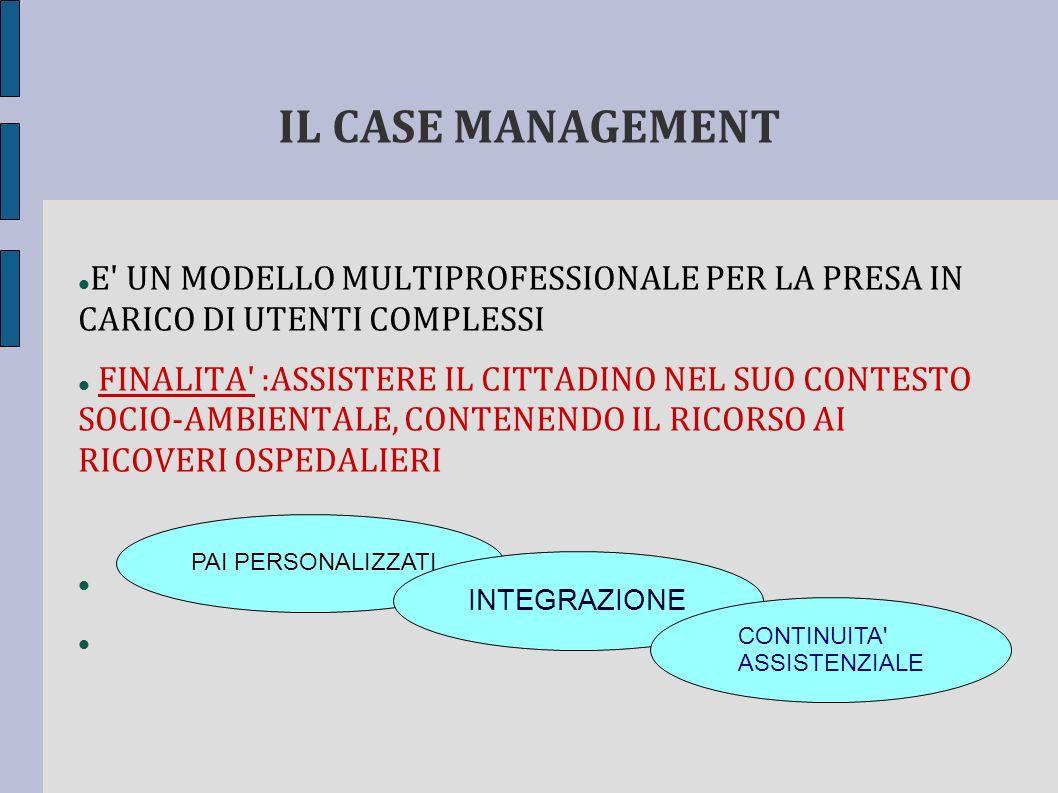 IL CASE MANAGEMENT E UN MODELLO MULTIPROFESSIONALE PER LA PRESA IN CARICO DI UTENTI COMPLESSI.