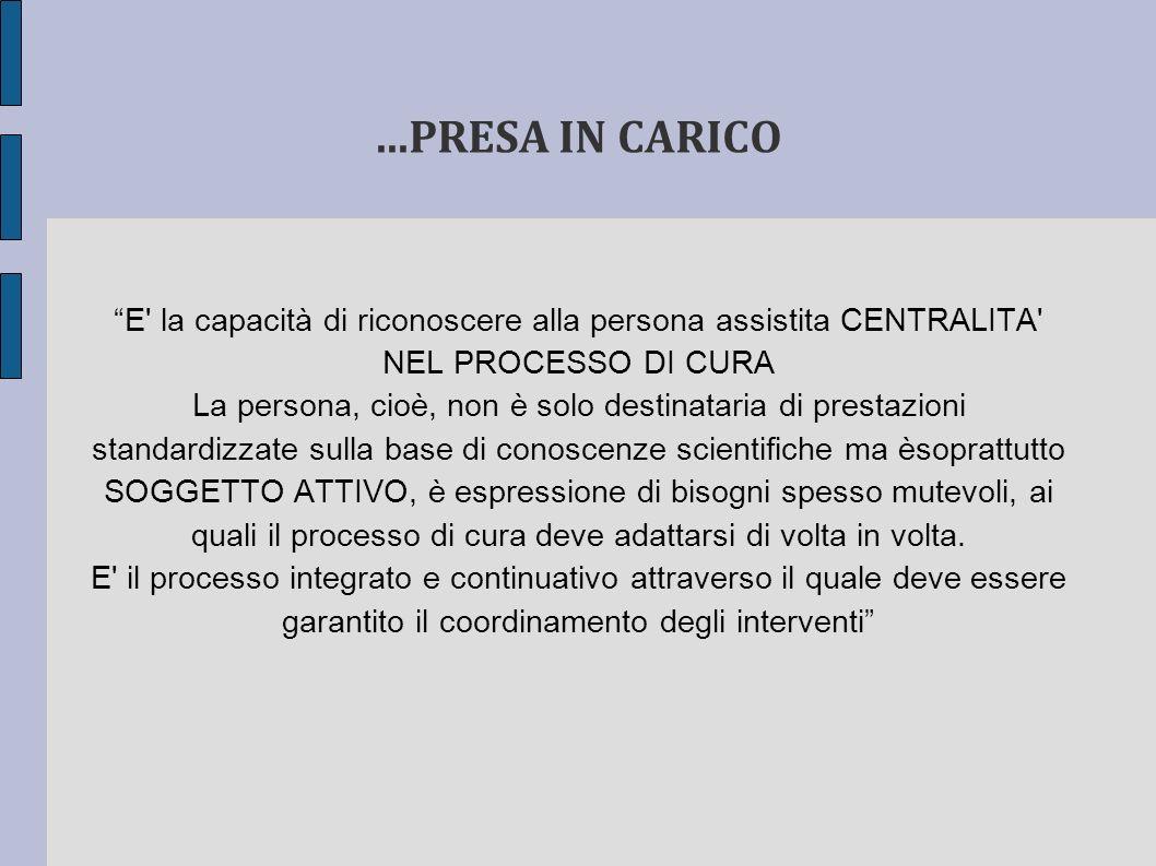 ...PRESA IN CARICO E la capacità di riconoscere alla persona assistita CENTRALITA NEL PROCESSO DI CURA.