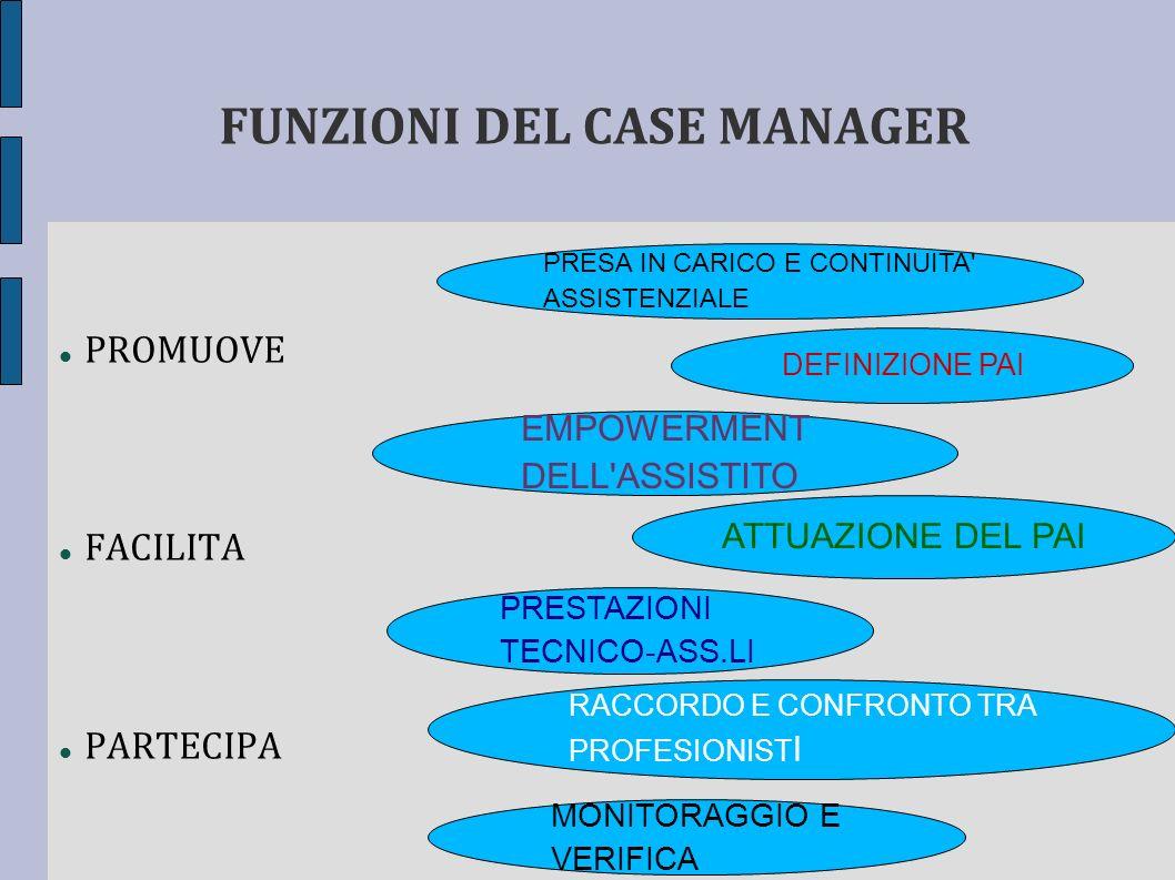 FUNZIONI DEL CASE MANAGER